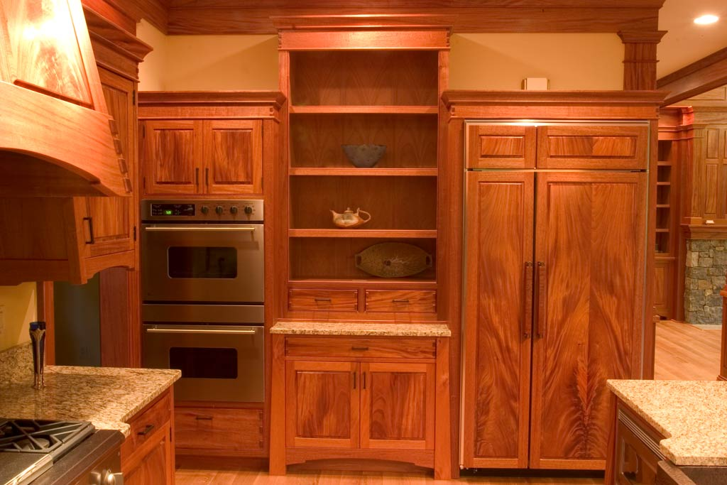 The north wall of the kitchen incorporated the built in refrigerator, double convection oven and display cabinet.