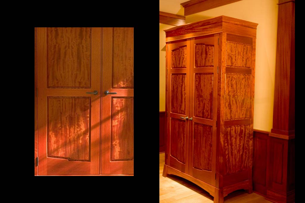 "Looking closer at the armoire you see how the rare ""beeswing"" figure becomes alive when lit. These matched panels are set off by simple grain stain & rails, a theme throught the house."
