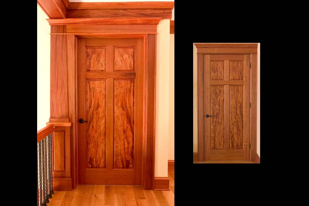 22 custom doors were made for the housing using Signature's technique of resawing highly figured panels framed by straight grain.